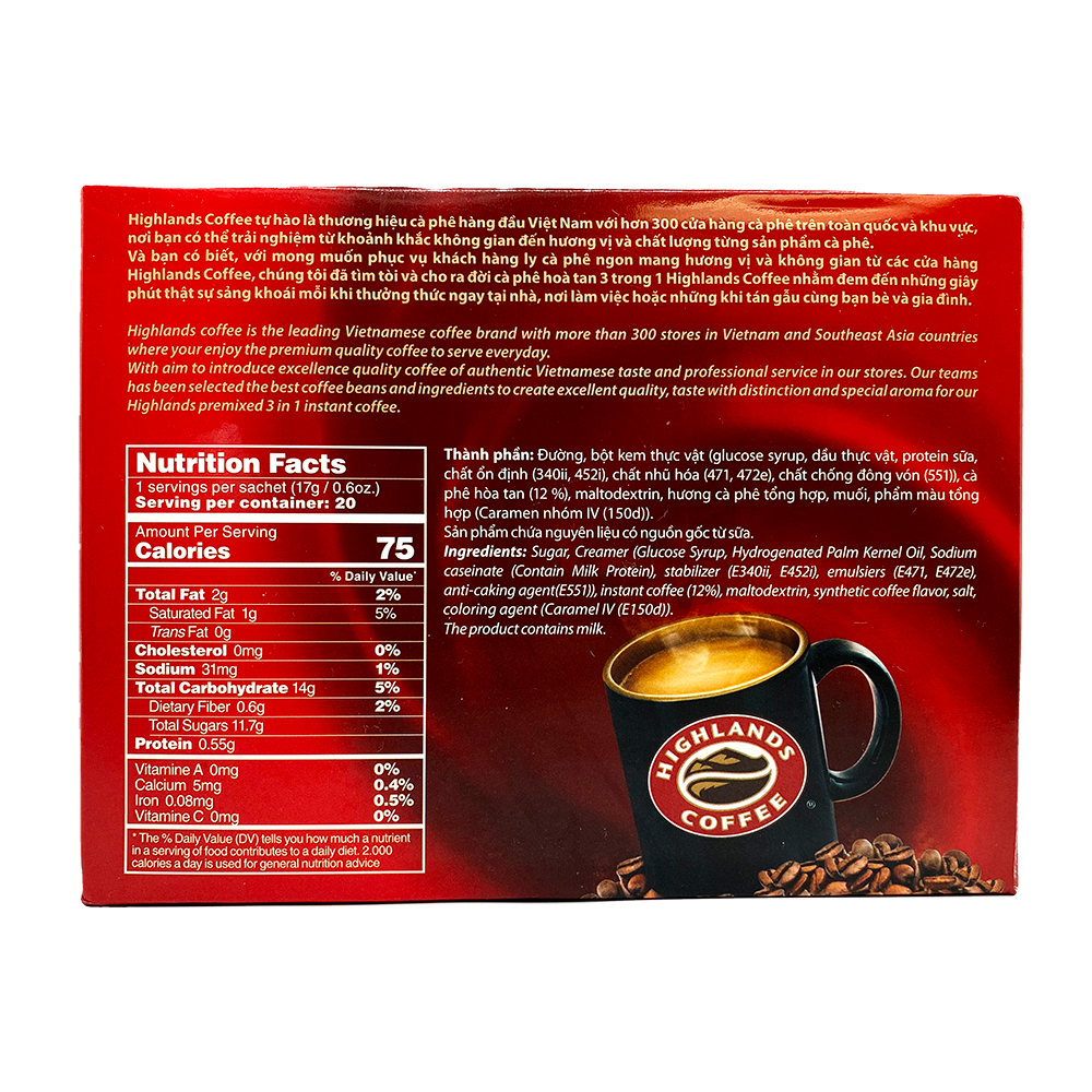 large highlands instant coffee 3 in 1 ca phe hoa tan 3 trong 1 1199 oz jkkuRrW2pY