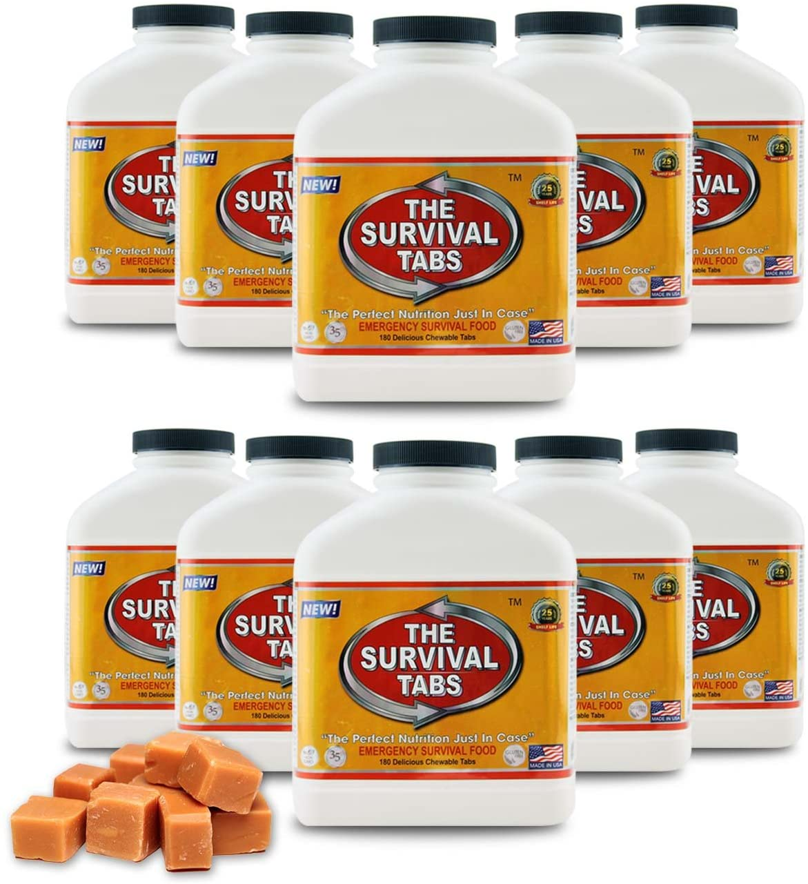Food Storage 15-day Food Supply x 10 Bottles Gluten Free and Non-GMO 25 Years Shelf Life – Butterscotch Flavor.
